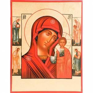 Icone Russia dipinte: Icona Madre di Dio di Kazan manto rosso e santi