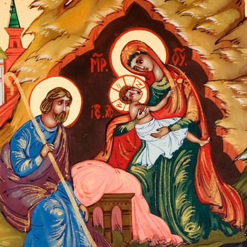 Icona russa Natività di Gesù 6x9 dipinta a mano s3
