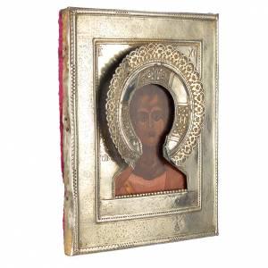 Icona russa antica Cristo Emmanuele 1874 riza argento s2