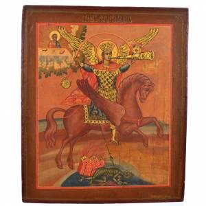 Icona russa antica S. Michele Arcangelo XIX secolo s1