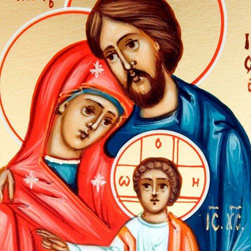 Icona Sacra Famiglia 6x9 Russia dipinta a mano s3