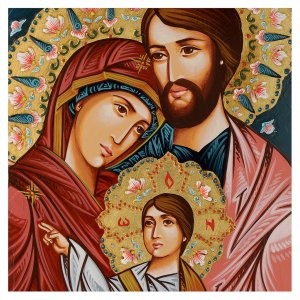Icona Sacra Fam. dipinta a mano s2