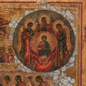 Icone ancienne Russe Jugement universel milieu XIX siècle s5