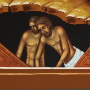 Icone Descente aux Enfers peinte à la main Russie 22x27cm s4