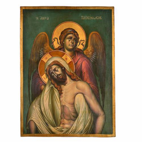Icône grecque peinte, scène Déposition du Christ 67x48cm s1