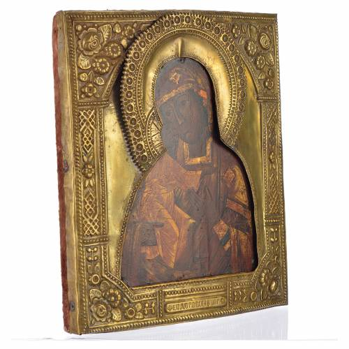 Icône russe ancienne Notre-Dame de Féodorov riza bronze s2