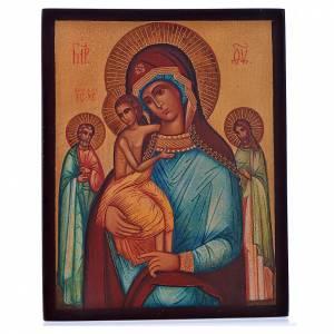 Icônes Russes peintes: Icône russe Notre-Dame des trois joies 14x11 cm
