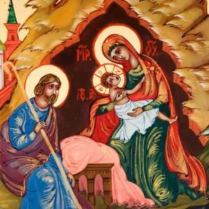 Icono ruso Natividad de Jesús pintado a mano 6x9 cm s3