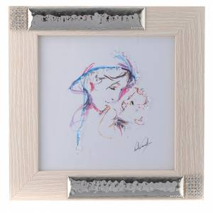 Bonbonnières: Idée cadeau aquarelle Mère Protectrice 16x16 cm argent