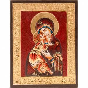 Handgemalte rumänische Ikonen: Ikone Gottesmutter von Wladimir mit goldenen Rahmen