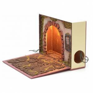 Illuminated arch for nativities inside a book 19x24x8cm s2