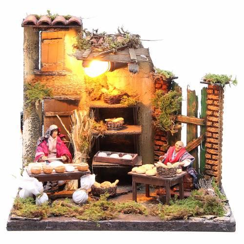 Illuminated baker figurine for Neapolitan Nativity, 10cm s1