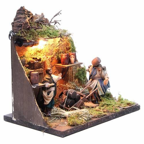 Illuminated cooper figurine for Neapolitan Nativity, 10cm s3