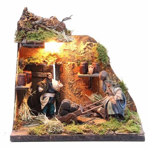 Illuminated cooper figurine for Neapolitan Nativity, 10cm s1