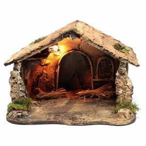 Neapolitan Nativity Scene: Illuminated Neapolitan Nativity Scene stable with arch 25x40x35 cm
