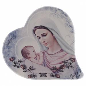 Statues Vierge de Medjugorje: Image coeur pierre Notre-Dame Medjugorje et enfant h 15 cm