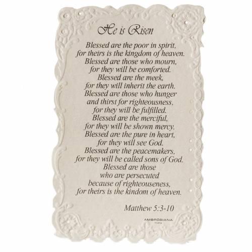 Image pieuse He is Risen avec prière ANGLAIS s2