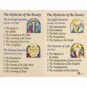 Image pieuse Mystères du Rosaire plastifiée avec prière ANGLAIS s1