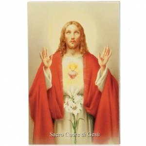 Image pieuse Sacré Coeur de Jésus avec prière italien s1