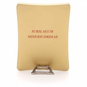 Cuadros, estampas y manuscritos iluminados: STOCK Imagen sobre madera Logo Jubileo Misericordia 11x15 cm