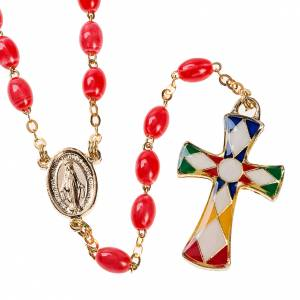 Imitation pearl rosaries: Imitation coral rosary with brass ligature, 6mm