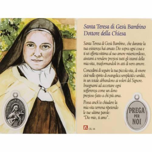 Immagine Santa Teresa con preghiera plastificata s1