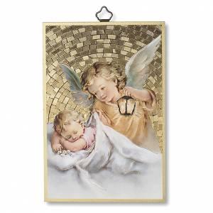 Tableaux, gravures, manuscrit enluminé: Impression sur bois Ange Gardien avec lanterne Ange de Dieu ITA