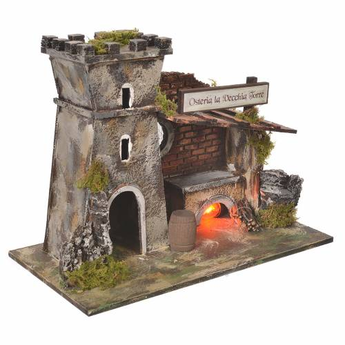 Inn house for nativities with flame effect oven 24.5x33x18cm s3