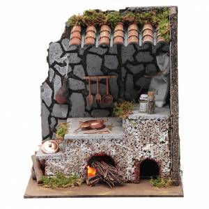 Fireplaces and ovens: Kitchen for nativity scene with fireplace, lights and fire  25x20x15 cm
