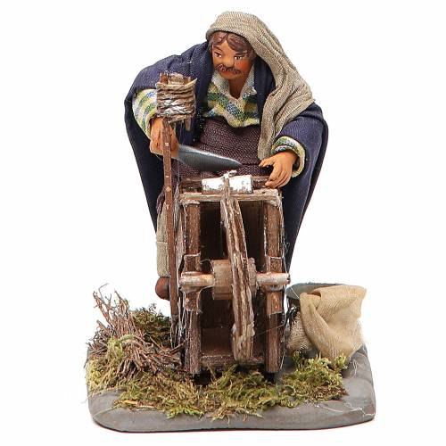 Knife grinder with wooden stall, Neapolitan nativity figurine 10cm s1