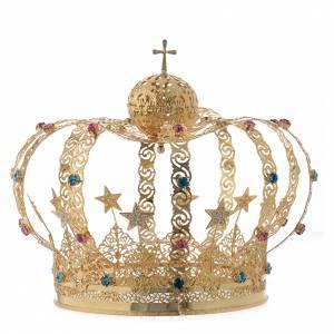 Aureole i korony do figur: Korona Matki Boskiej mosiądz pozłacany gwiazdy stras kolorowy