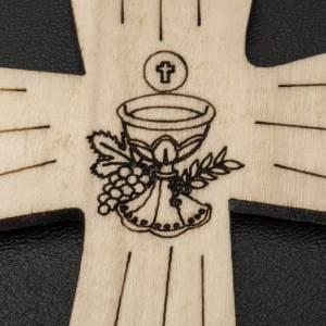 Erstkommunion Alben: Kreuz Erstkommunion aus Holz mit Kelch und Hostie, 9,8x7,2cm.