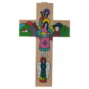 Kruzifixe aus Holz: Kreuz mit heiliger Familie aus emaillierten Holz.
