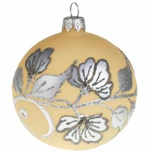 Tannenbaumkugeln: Kugel Weihnachtsbaum elfenbeinfarbig und silbrig 8 cm