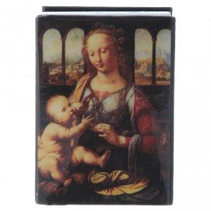 Lacca cartapesta russa La Madonna col Bambino 7X5 cm s1