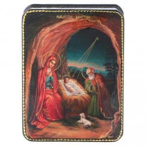 Lacca russa cartapesta Fedoskino style 11x8 Nascita Gesù Cristo s1
