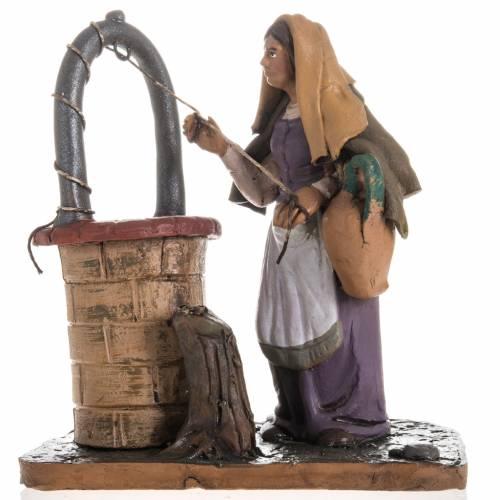 Lady near a well Christmas crib terracotta 18 cm s1