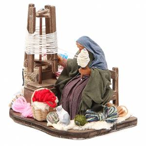 Lady spinning wool, animated Neapolitan Nativity figurine 12cm s2