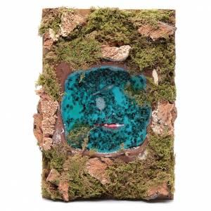 Ponte presepe, ruscelli, staccionate: Lago con pesci effetto acqua accessorio presepe 5x20x15 cm