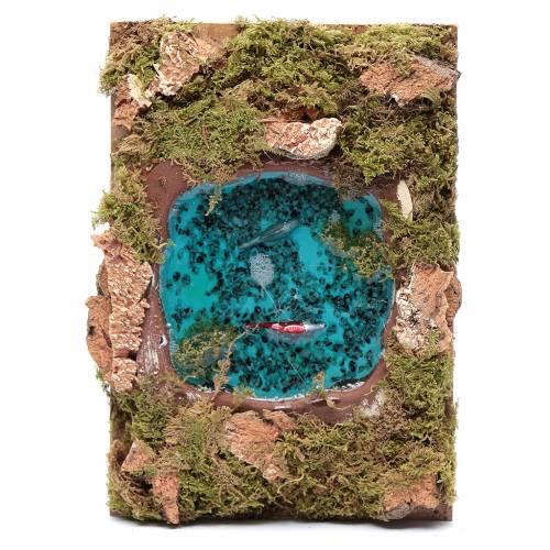 Lago con pesci effetto acqua accessorio presepe 5x20x15 cm s1