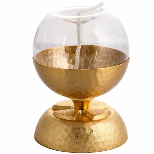 Lamp for liquid wax in hammered golden brass s3