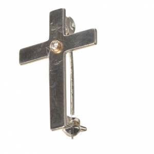 Lapel pin priest cross in 800 silver with zircon s2