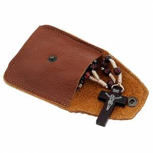 Rosary cases: Leather rosary case, brown