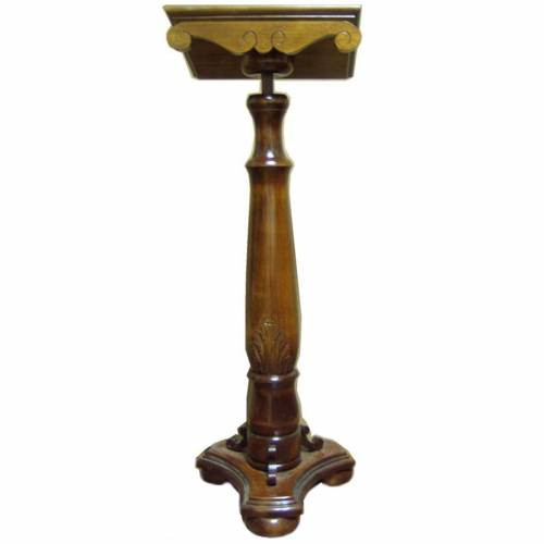 Lectern, column in turned solid wood, carved and adjustable s1