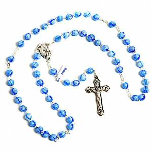 Light blue Murano glass rosary with flowers s1