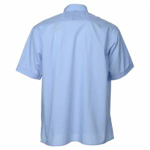Clergy Shirts: STOCK Light blue popeline clergyman shirt, short sleeves