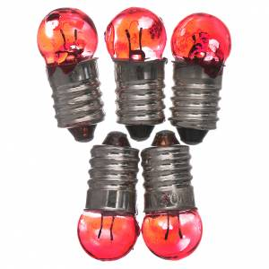 Nativity lights and lamps: Light bulb, red, E10, 5 pieces, 3,5-4,5v.