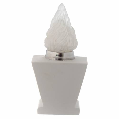 Light holder for cemetery, in reconstituted white marble, Jesus s3