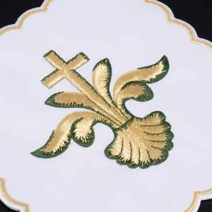 Linge d'autel 4 pcs coquille, lys, croix s2