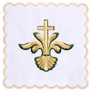 Linge d'autel 4 pcs coquille, lys, croix s1